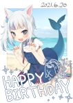1girl :d absurdres animal_ears bag bangs beach bloop_(gawr_gura) blue_eyes blue_hair blue_nails blue_sky blush cat_ears claw_pose dated day eyebrows_visible_through_hair fish_tail gawr_gura handbag happy_birthday highres hololive hololive_english houshou_marine_(artist) long_hair looking_at_viewer multicolored_hair open_mouth outdoors sandals shark_girl shark_tail sharp_teeth side_ponytail silver_hair sky smile solo streaked_hair tail teeth virtual_youtuber