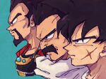 3boys adam's_apple armor bardock beard black_eyes black_hair blue_background cheekbones close-up closed_mouth collarbone cropped_shoulders dragon_ball dragon_ball_minus dragon_ball_super dragon_ball_super_broly dragon_ball_z face facial_hair facing_away from_side frown highres jewelry king_vegeta lineup looking_afar male_focus multiple_boys necklace paragus_(dragon_ball_super) profile scar scar_on_cheek scar_on_face serious simple_background spiky_hair tkgsize wrinkles
