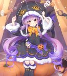1girl blush elf halloween hat highres kyouka_(princess_connect!) long_hair looking_at_viewer pointy_ears princess_connect! shimon_(31426784) trick_or_treat twintails violet_eyes yellow_eyes