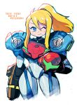 1girl absurdres arm_at_side arm_cannon blonde_hair blue_eyes cropped_legs english_text headwear_removed helmet helmet_removed highres metroid metroid_dread one_eye_closed ponytail power_armor power_suit rariatto_(ganguri) samus_aran simple_background smile solo weapon