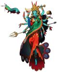 1girl absurdres barefoot black_hair blue_skin brown_eyes colored_skin crown extra_arms full_body highres hindu_mythology holding jewelry kali long_hair mantis_shrimp necklace nose_piercing nose_ring personification piercing rinotuna shadow simple_background skull smile solo tongue tongue_out white_background