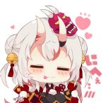 1girl :p bangs bell blush chibi closed_eyes closed_mouth double_bun eyebrows_visible_through_hair facing_viewer fangs fangs_out grey_hair hair_bell hair_ornament heart hololive horns jingle_bell katana long_sleeves mask mask_on_head multicolored_hair muuran nakiri_ayame oni oni_horns oni_mask redhead sheath sheathed simple_background sleeves_past_fingers sleeves_past_wrists solo streaked_hair sword tongue tongue_out translation_request two_side_up upper_body virtual_youtuber weapon white_background