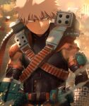 1boy armor bakugou_katsuki bangs belt blonde_hair blurry blurry_background bodysuit boku_no_hero_academia closed_mouth commentary day english_commentary explosive frown grenade gun highres holding male_focus outdoors red_eyes shoulder_armor solo spiky_hair tree trubwlsum upper_body weapon