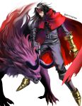 1boy absurdres black_hair clawed_gauntlets cloak final_fantasy final_fantasy_vii headband highres horns leather long_hair messy_hair monster pointed_footwear red_cloak red_eyes red_headband snowscapism torn_clothes vincent_valentine white_background