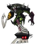 asymmetry coattails evil highres hook hook_hand hunched_over jeetdoh mecha mismatched_legwear muscle_car no_humans open_hand pose red_eyes shoulder_spikes signature sneaking spikes transformers transformers_animated white_background
