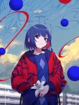1girl absurdres blue_hair braid building clouds colored_inner_hair earrings eyebrows_visible_through_hair flower graffy_boring hand_in_pocket highres holding holding_flower hood hooded_jacket jacket jewelry kamitsubaki_studio lily_(flower) looking_at_viewer multicolored multicolored_eyes multicolored_hair open_clothes open_jacket outdoors parted_lips red_jacket redhead rim_(kamitsubaki_studio) short_hair side_braid sky solo sphere two-tone_hair virtual_youtuber yellow_pupils