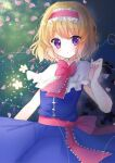 1girl alice_margatroid bangs blonde_hair blue_dress blush bow bowtie capelet commentary cowboy_shot doko_ka_no_hosono dress eyebrows_visible_through_hair flower frilled_capelet frilled_hairband frilled_neckwear frills hair_between_eyes hairband highres looking_at_viewer open_mouth petals pink_bow pink_hairband pink_neckwear pink_sash red_neckwear sash short_hair sleeveless sleeveless_dress solo string touhou violet_eyes white_capelet white_flower