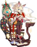 +_+ 1girl :3 animal_ears artist_request bangs bauble black_legwear black_skirt blonde_hair blue_eyes blush breasts chair chocolate christmas closed_mouth crossed_legs cup eyeliner fox_ears fox_girl fox_shadow_puppet fox_tail full_body fur-trimmed_footwear fur_collar gloves green_ribbon hair_ornament hairclip happy high_heels highres holding holding_cup holding_staff holly inaho_(world_flipper) lantern light_blush long_hair long_sleeves looking_at_viewer makeup medium_breasts miniskirt non-web_source official_art pantyhose plate pleated_skirt ponytail red_eyeliner red_ribbon ribbon saucer shiny shiny_clothes shoes sidelocks single_glove skirt smile snow solo sparkle staff standing star_(symbol) sweater table tail teacup tied_hair transparent_background watson_cross white_footwear white_sweater wide_sleeves world_flipper wreath yellow_gloves