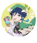 1boy androgynous bangs beret black_hair blue_eyes blue_hair bow braid brooch cape character_name collared_cape collared_shirt corset desert english_text eyebrows_visible_through_hair floral_background flower food frilled_sleeves frills gem genshin_impact gradient_hair green_eyes green_headwear hat hat_flower holding holding_food holding_spoon honlo ice_cream ice_cream_cone jewelry leaf long_sleeves looking_at_viewer male_focus multicolored_hair open_mouth shirt short_hair_with_long_locks simple_background smile solo spoon translation_request twin_braids utensil venti_(genshin_impact) white_background white_flower white_shirt