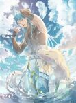 1boy abs animal arm_up belt blue_hair blue_sky clouds cu_chulainn_(caster)_(fate) cu_chulainn_(fate)_(all) dog droplet earrings fate/grand_order fate_(series) fingerless_gloves gloves highres in_water jewelry long_hair male_focus muscular muscular_male open_mouth red_eyes ro_(pixiv34009774) shirt skin_tight sky sleeveless sleeveless_shirt spiky_hair twitter_username wading water wet white_wolf wolf