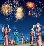 2boys 5girls :d ahoge arms_up bangs beach black_pants blonde_hair blue_kimono clouds danganronpa_(series) danganronpa_2:_goodbye_despair dark-skinned_female dark_skin fan fireworks game_cg hair_horns happy hinata_hajime holding holding_fan japanese_clothes kimono knees_up long_hair looking_at_viewer mioda_ibuki multiple_boys multiple_girls nanami_chiaki necktie nidai_nekomaru night ocean official_alternate_costume open_mouth owari_akane pants pink_kimono sandals sash shirt short_sleeves sitting sleeves_past_wrists smile sonia_nevermind spaceship_hair_ornament standing tsumiki_mikan wide_sleeves