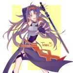 1girl ahoge arm_behind_head armor artist_name bangs breastplate demonxhalphas detached_sleeves fingerless_gloves gloves hairband holding holding_sword holding_weapon leotard long_hair looking_at_viewer open_mouth outstretched_arm parted_bangs pointy_ears purple_hair red_eyes red_hairband simple_background skirt smile solo sword sword_art_online upper_teeth very_long_hair weapon yuuki_(sao)