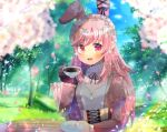 1girl :d animal_ears bangs black_gloves blurry blurry_background blurry_foreground blush character_request cup day depth_of_field eyebrows_visible_through_hair gloves holding holding_cup holding_saucer indie_virtual_youtuber juliet_sleeves kouu_hiyoyo long_hair long_sleeves looking_at_viewer open_mouth outdoors petals pink_hair puffy_sleeves rabbit_ears red_eyes ribbed_sweater saucer single_glove smile solo sweater tree upper_body upper_teeth very_long_hair virtual_youtuber white_sweater