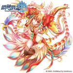1girl armpits arms_up ass bird_hair_ornament breasts brown_legwear chain_chronicle copyright_name detached_sleeves eyebrows_visible_through_hair full_body gradient_hair hair_ornament heterochromia highres logo looking_at_viewer multicolored_hair official_art omone_chou orange_hair red_eyes simple_background solo thighs white_background yellow_eyes