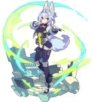 1girl animal_ears arms_up artist_request aura bangs bike_shorts black_bodysuit blush bodysuit box breasts covered_navel cropped_jacket fluffy_(world_flipper) fox_ears fox_girl fox_tail full_body gloves hair_intakes hair_ornament hairclip heel_up highres jacket karambit knee_pads light_blush long_sleeves looking_to_the_side medium_breasts multicolored_footwear non-web_source official_art open_clothes open_jacket open_mouth outstretched_arm pouch red_eyes rubble shiny shiny_hair shoes side_cutout sidelocks slit_pupils solo tail thigh_pouch thigh_strap transparent_background white_gloves white_jacket world_flipper