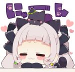 1girl :3 animal animal_ear_fluff animal_ears animal_on_head bangs black_bow black_cat blush_stickers bow cat cat_ears cat_girl cat_tail chibi closed_eyes closed_mouth facing_viewer grey_hair hair_bow heart hololive long_hair long_sleeves murasaki_shion muuran on_head simple_background sleeves_past_fingers sleeves_past_wrists solo tail tail_raised translation_request twintails twitter_username virtual_youtuber white_background