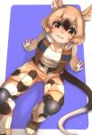 1girl african_giant_pouched_rat_(kemono_friends) animal_ears belt black_hair brown_pants brown_vest camouflage camouflage_pants commentary_request eyebrows_visible_through_hair fingerless_gloves from_above gloves hair_between_eyes highres kemono_friends kemono_friends_3 knee_pads light_brown_hair looking_at_viewer mouse_ears mouse_girl mouse_tail multicolored_hair open_clothes open_vest orange_eyes pants shirt short_hair short_sleeves simple_background sitting solo t-shirt tail thin_(suzuneya) two-tone_hair vest white_gloves white_shirt