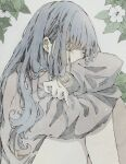 1girl bangs closed_eyes covering_mouth dated earrings flower grey_background grey_hair grey_sweater highres jewelry knees_up leaf long_hair original signature sleeves_past_wrists solo sweater tears toaruocha white_flower