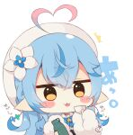 1girl :3 ^^^ ahoge bangs beret blue_bow blue_flower blue_hair blush_stickers bottle bow brown_eyes chibi closed_mouth cup eyebrows_visible_through_hair flower fur-trimmed_sleeves fur_trim hair_between_eyes hair_flower hair_ornament hat heart_ahoge holding holding_bottle holding_cup hololive long_hair long_sleeves multicolored_hair muuran plaid plaid_bow pointy_ears signature simple_background solo streaked_hair sweat tongue tongue_out translation_request upper_body virtual_youtuber white_background white_flower white_headwear yukihana_lamy