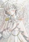 1girl angel angel_wings bandages bandages_over_eyes blush chain collared_dress covered_eyes dated dress feathered_wings frilled_sleeves frills halo hand_up head_wings highres long_sleeves original parted_lips pointy_ears short_hair signature solo toaruocha white_dress white_hair white_theme white_wings wings