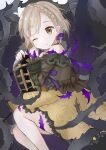 1girl bangs braid briar_rose_(sinoalice) brown_blouse brown_hair commentary_request doko_ka_no_hosono eyebrows_visible_through_hair feet_out_of_frame frilled_skirt frills hair_ribbon highres holding looking_at_viewer off_shoulder one_eye_closed open_mouth platinum_blonde_hair purple_ribbon ribbon short_hair sinoalice skirt solo thorns yellow_skirt