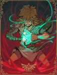 1boy angry artist_name blonde_hair blood blood_from_mouth blue_eyes clenched_teeth glowing glowing_eye glowing_hand glowing_weapon highres hylian_crest link looking_at_viewer messy_hair pointy_ears richard_carey shorts single_bare_shoulder sword teeth the_legend_of_zelda the_legend_of_zelda:_breath_of_the_wild the_legend_of_zelda:_breath_of_the_wild_2 weapon
