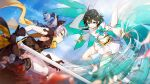 2girls antenna_hair bandages barefoot benghuai_xueyuan blue_sky boots braid bronya_zaychik closed_mouth clouds cloudy_sky drill_hair earrings elbow_gloves fighting flower gloves green_eyes green_hair grey_eyes grey_hair highres holding holding_sword holding_weapon honkai_(series) honkai_impact_3rd jewelry long_sleeves looking_at_another multiple_girls navel official_art petals red_flower red_rose rose scarf short_hair short_sleeves sky sword thigh-highs twin_drills weapon wendy_(honkai_impact) wings