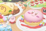 absurdres apron blue_eyes blueberry blush_stickers caprese_salad chef_hat cupcake curry curry_rice drink drinking_straw food fruit green_tea_ruru hat highres icing kirby kirby_(series) kirby_cafe looking_at_viewer maxim_tomato pancake raspberry rice smile star_(symbol) waddle_dee