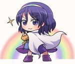 1girl :d bangs blurry cape closed_mouth cowboy_shot crossed_arms dress eyebrows_visible_through_hair full_body looking_at_viewer looking_back multicolored multicolored_clothes multicolored_dress multicolored_hairband open_mouth purple_footwear purple_hair rainbow rokugou_daisuke short_hair signature smile standing star_(symbol) tenkyuu_chimata touhou v-shaped_eyebrows violet_eyes white_background white_cape