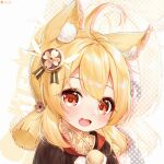 1girl :d absurdres ahoge animal_ears bangs blonde_hair brown_scarf cat_ears clover_print coat commentary_request eyebrows_visible_through_hair genshin_impact hair_between_eyes hair_ornament highres hooded_coat kemonomimi_mode klee_(genshin_impact) long_hair looking_at_viewer low_twintails open_mouth orange_eyes pointy_ears q_uouou red_coat scarf sidelocks smile solo twintails zoom_layer