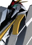 absurdres commentary_request glowing glowing_eyes green_eyes gundam gundam_hathaway's_flash highres looking_at_another mecha mobile_suit nana_g no_humans science_fiction solo upper_body v-fin white_background xi_gundam