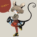 alternate_costume animal_ears black_skirt bright_pupils brooch clothes_lift commentary_request full_body grey_background grey_hair grey_shirt jewelry long_sleeves looking_at_viewer mouse_ears mouse_tail nazrin open_mouth pantyhose red_eyes red_legwear see-through shirt shoes skirt skirt_lift smile sparkle tail touhou translation_request white_pupils yellow_footwear yt_(wai-tei)