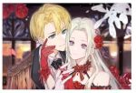1boy 1girl black_suit blonde_hair blue_eyes brother_and_sister couple cute dimitri_alexandre_blaiddyd dress ear_piercing edelgard_von_hresvelg elegant fire_emblem fire_emblem:_three_houses fire_emblem:_three_houses flower flower_hair_ornament flower_on_head formal gloves hair_ribbon holding holding_hands incest intelligent_systems long_hair love lowres mihoalice necktie nintendo petals postcard red_dress red_gloves ribbon rose short_hair siblings suit violet_eyes white_gloves white_hair