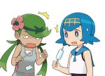 2girls ^^^ bangs bare_arms blue_eyes blue_hair blue_sailor_collar bright_pupils commentary dropping flower food green_hair grey_overalls hair_flower hair_ornament hairband hands_up holding holding_stick lana_(pokemon) long_hair looking_down mallow_(pokemon) multiple_girls no_sclera o_o open_mouth pink_flower pokemon pokemon_(game) pokemon_sm popsicle sailor_collar shirt simple_background sleeveless sleeveless_shirt squid_neetommy stick sweatdrop swept_bangs tearing_up twintails upper_body white_background white_pupils white_shirt yellow_hairband