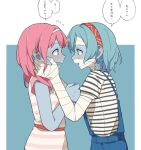 2girls bandaged_arm bandaged_head bandages bang_dream! blue_background blue_hair blue_skin blush clenched_hand coldcat. colored_skin commentary cowboy_shot crossover dress ear_blush ears embarrassed eye_contact eyebrows_visible_through_hair face-to-face hands_on_another's_cheeks hands_on_another's_face headband highres hikawa_hina looking_at_another maruyama_aya medium_hair multiple_girls open_mouth overalls pink_dress pink_hair profile red_headband short_hair short_sleeves side_braids simple_background striped striped_dress translation_request wavy_mouth white_dress white_headband yuri zombie zombie_land_saga