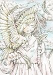 1girl bird bird_on_hand closed_eyes clouds collared_dress dress earrings feathered_wings feathers frilled_dress frills hand_up highres jewelry long_sleeves medium_hair one_eye_covered original parted_lips solo toaruocha white_bird white_dress white_feathers white_hair wings
