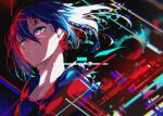 1girl abstract_background berryverrine blue_hair braid colored_inner_hair hood hood_down hooded_jacket jacket kamitsubaki_studio looking_at_viewer multicolored multicolored_eyes multicolored_hair noise open_clothes open_jacket parted_lips red_jacket redhead rim_(kamitsubaki_studio) side_braid solo sphere two-tone_hair upper_body virtual_youtuber yellow_pupils