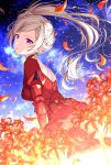 1girl blurry blurry_foreground breasts brown_hair commentary_request depth_of_field dress edelgard_von_hresvelg fire_emblem fire_emblem:_three_houses flower from_side highres juliet_sleeves long_hair long_sleeves looking_at_viewer looking_to_the_side medium_breasts night night_sky outdoors parted_lips petals puffy_sleeves red_dress red_flower sakura_tsubame side_ponytail sky solo spider_lily star_(sky) starry_sky very_long_hair violet_eyes