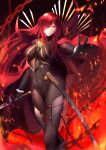 1girl armored_boots black_bodysuit bodysuit boots cape collared_cape fate/grand_order fate_(series) hair_over_one_eye highres lanceralter1 oda_nobunaga_(fate) oda_nobunaga_(fate)_(all) oda_nobunaga_(maou_avenger)_(fate) oda_uri popped_collar red_cape red_eyes redhead smile solo