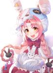 1girl :d blush halloween hat highres looking_at_viewer mimi_(princess_connect!) open_mouth pink_hair princess_connect! shimon_(31426784) smile solo trick_or_treat white_background wings yellow_eyes