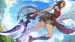 1girl au_ra black_horns breasts brown_hair day dragon_horns dragon_tail dutch_angle eden_(ff8) final_fantasy final_fantasy_xiv from_below hide_(hideout) holding holding_weapon horns looking_at_viewer medium_breasts medium_hair outdoors red_eyes scales shorts sleeveless solo standing tail weapon