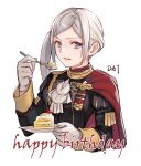 1girl :d absurdres black_jacket cake commentary_request da-cart edelgard_von_hresvelg fire_emblem fire_emblem:_three_houses food garreg_mach_monastery_uniform gloves hand_up happy_birthday highres holding holding_plate holding_spoon jacket juliet_sleeves long_hair long_sleeves looking_at_viewer open_mouth plate puffy_sleeves side_ponytail sidelocks silver_hair simple_background smile solo spoon upper_body violet_eyes white_background white_gloves white_neckwear
