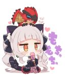 1girl :3 animal_ear_fluff animal_ears animal_on_head black_bow black_dress black_sleeves blush bow brown_legwear cat_ears cat_girl cat_tail character_request chibi closed_eyes detached_sleeves dragon dress eating food frilled_bow frilled_dress frills full_body grey_hair hair_bow heart holding holding_food hololive juliet_sleeves knees_up long_sleeves murasaki_shion muuran no_shoes off-shoulder_dress off_shoulder on_head pantyhose puffy_sleeves signature sitting tail tail_bow tail_ornament translation_request twintails virtual_youtuber white_background