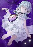 #compass 1girl bangs black_ribbon blue_hair blunt_bangs chain clock closed_eyes commentary coquelicot_blanche doko_ka_no_hosono dress eyebrows_visible_through_hair feet_out_of_frame floral_print flower hair_ribbon highres long_hair open_mouth purple_background ribbon shiny shiny_hair solo white_dress white_flower wrist_cuffs