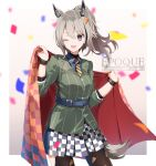 1girl a.a_(aa772) animal_ears arknights black_legwear blue_shirt blue_skirt checkered checkered_blanket checkered_skirt cowboy_shot food-themed_hair_ornament grani_(arknights) grani_(miraculous_moment)_(arknights) green_shirt grey_hair hair_ornament holding_blanket horse_ears horse_girl horse_tail looking_at_viewer necktie official_alternate_costume one_eye_closed open_mouth pantyhose pizza_hair_ornament ponytail sash shirt skirt solo striped striped_neckwear tail undershirt violet_eyes white_skirt wristband yellow_neckwear