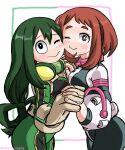 2girls brown_hair closed_eyes green_hair my_hero_academia ochako_uraraka short_hair tsuyu_asui