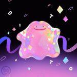 artist_name commentary confetti ditto full_body gen_1_pokemon gummy_(happyyu) highres no_humans open_mouth pokemon pokemon_(creature) purple_ribbon ribbon smile solo watermark