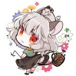 animal_ear_fluff animal_ears animal_on_head basket biyon black_dress black_footwear blush_stickers capelet chibi commentary_request dowsing_rod dress floral_background flower full_body grey_hair heart heart_tail long_sleeves looking_at_viewer looking_back mouse mouse_ears mouse_on_head mouse_tail nazrin on_head red_eyes shirt shoes short_hair socks tail tail_hold touhou twitter_username white_background white_legwear white_shirt