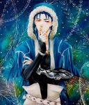 1boy blue_hair closed_mouth cu_chulainn_(caster)_(fate) cu_chulainn_(fate)_(all) earrings fate/grand_order fate_(series) highres jewelry long_hair male_focus red_eyes solo traditional_media zeroitsu