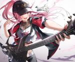 1girl :d bangs baseball_cap black_headwear black_jacket black_pants blush breasts commentary_request crop_top english_commentary fishnet_top fishnets floating_hair guitar hair_between_eyes hands_up hat highres holding holding_instrument hololive hololive_english instrument jacket jewelry kito_koruta large_breasts looking_at_viewer midriff mixed-language_commentary mori_calliope nail_polish necklace official_alternate_costume open_clothes open_jacket open_mouth outstretched_arm pants pink_hair ponytail print_shirt red_eyes red_nails see-through shirt short_sleeves signature skull_and_crossbones skull_print smile solo virtual_youtuber white_background white_shirt